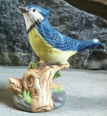 Blue Jay on a Perch Figurine, Bisque Porcelain
