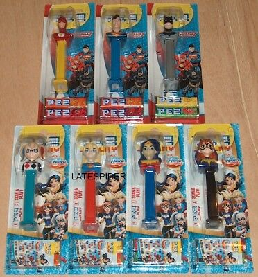 7x PEZ DC COMICS Batman The Flash Harley Quinn Wonder Woman Justice League Girls