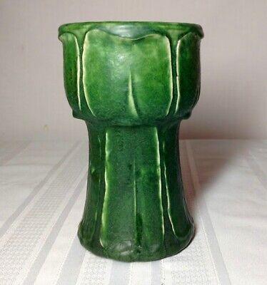 GRUEBY POTTERY, MATTE GREEN VERTICALLY CARVED LEAVED VASE, UNIQUE SHAPED (Green Vertical Vases)