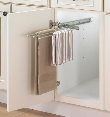 NEW Knape & Vogt KV Pull Out Sliding Towel Three-Bar Rack Steel Anochrome (Pull Out Towel Rack)