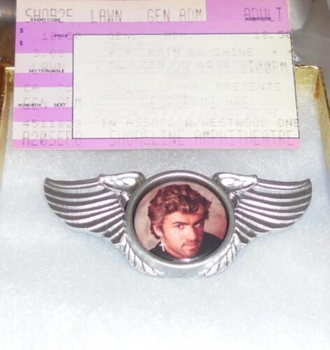 George Michael Wham Wing Live Concert Hat Jacket Badge Pin Freedom Faith Youtube