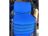 stacking office chair blue PRICE PER CHAIR
