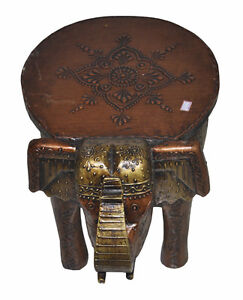 Indian Antique Style Elephant Stool Wooden Decorative