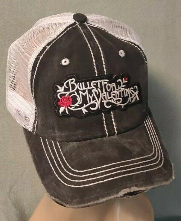Bullet for my Valentine Trucker Hat Distressed Baseball Cap Black & White Mesh