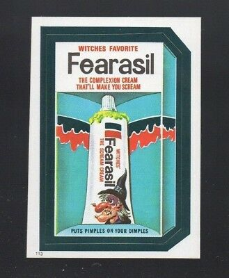 1982 TOPPS WACKY PACKAGES STICKER FEARASIL #113  (ONLY ONE CARD)