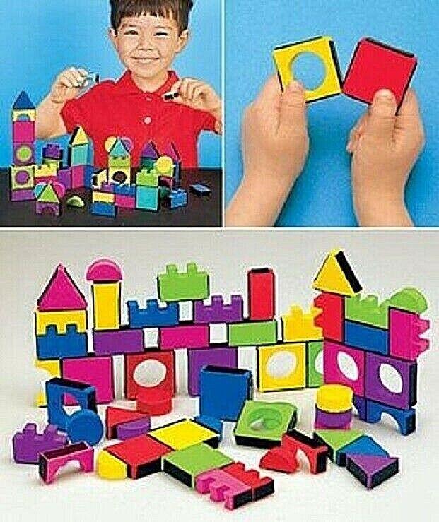 Kids Magnetic Blocks 108 Pieces Colorful Foam Blocks Make Imagination Leads +4 Building Toys