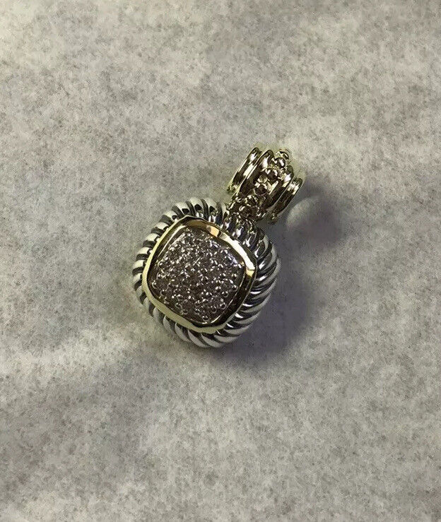 David Yurman Albion Yellow Gold & 925 Silver Pave Diamond  Pendant