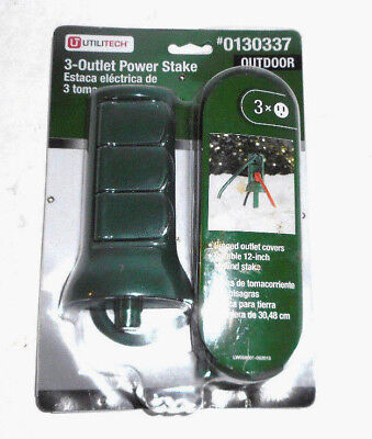 3 Outlet Yard Stake - NEW Utilitech Outdoor Yard Stake 3 Outlets Great for outdoor Inflatables Xmas