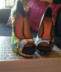 Head Over Heels Colourful Patterned Dune High Heels - Size 5