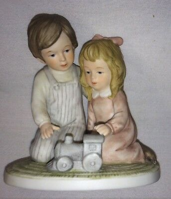 ENESCO 1981 TREASURED MEMORIES FIGURINE BOY GIRL FLOORS ARE BEST FOR PLAYING EUC