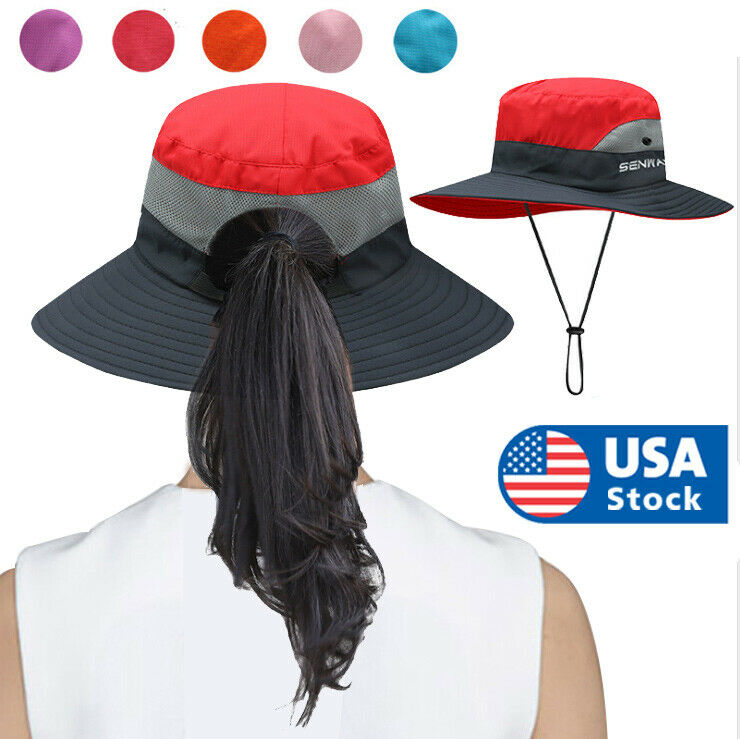 Women Wide Brim Sun Visor Caps Holiday Beach Summer Floppy Ponytail Hat Outdoor Clothing, Shoes & Accessories