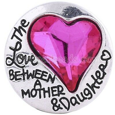 Pink Rhinestone Heart Love Mother Daughter 20mm Snap Charm For Ginger Snaps