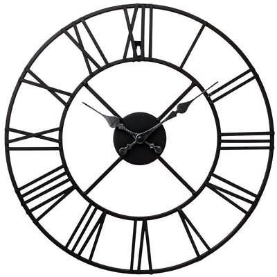 LARGE OUTDOOR GARDEN WALL CLOCK BIG ROMAN NUMERALS GIANT OPEN FACE METAL 40CM