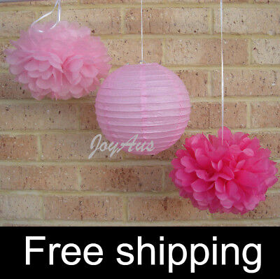 18x pink paper pom poms paper lanterns wedding party baby shower shop decoration (Baby Shower Shop)