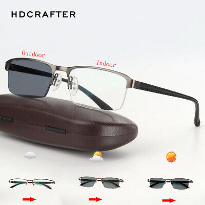 Men Metal Transition Photochromic Reading Glasses Outdoor Driving Sunglasses New (Outside Reading)