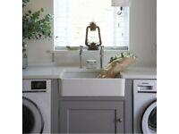 Gloss White 600x400x160 Ceramic Belfast Butler Kitchen Sink