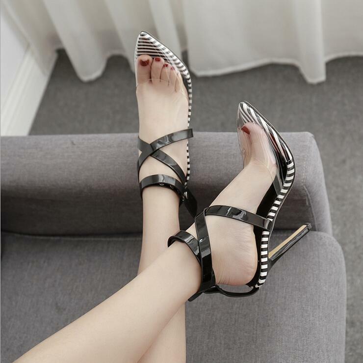 как выглядит womens high heels multi color cross-strap rivets pumps Clear pointed toe sandals фото