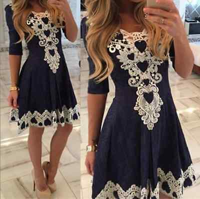 Fashion Women Summer Lace Long Sleeve Party Evening Cocktail Short Mini Dress