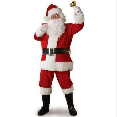 Weihnachtsmannkostüm Weihnachtsmann Nikolauskostüm 5tlg Mütze Bart Mantel Gürtel