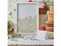 Wedding Wooden Frame guest book with 70 Hearts - BRAND NEW