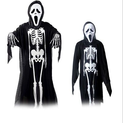Halloween Costume Outfit Skull Skeleton Kid Adult Fancy Dress with Mask Gloves ()