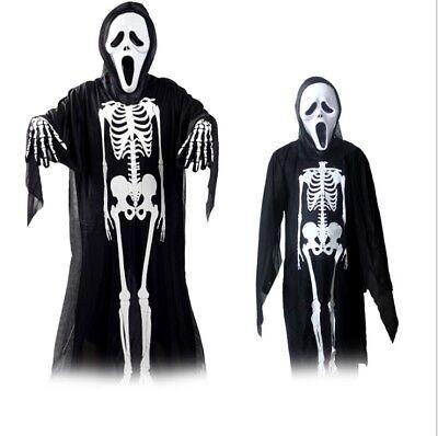 tfit Skull Skeleton Kid Adult Fancy Dress with Mask Gloves (Skull Kid Costume)
