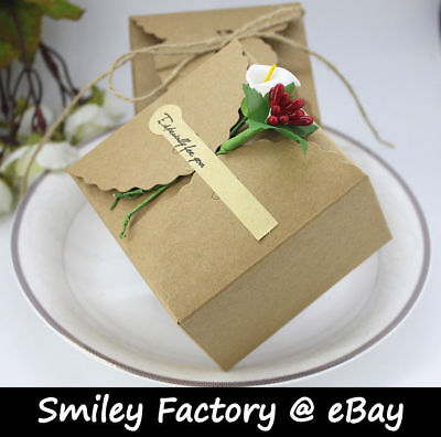 New Classic 20pcs Handmade Kraft Paper Boxes for Candy Cookie Wedding Favor Gift Classic Candy Gift Box