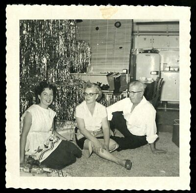 Vintage Christmas Photo FAMILY SITS ON FLOOR IN FRONT OF HEAVILY TINSELED TREE  ()