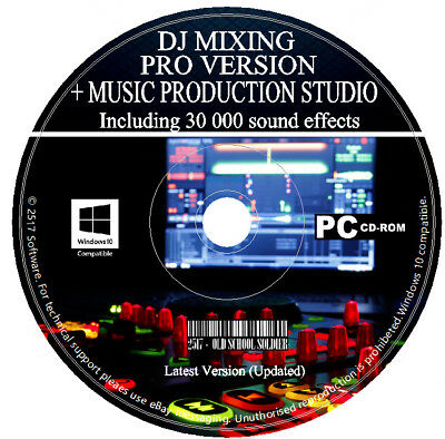 Pro DJ Mixing Software + Music Production Studio Audio Editing Recording PC CD