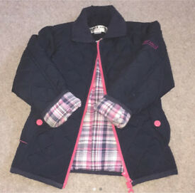 Girls navy Harry Hall quilted jacket 3-4yrs