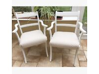 2 White chairs with pineapple print