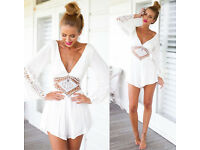 Women's white playsuit