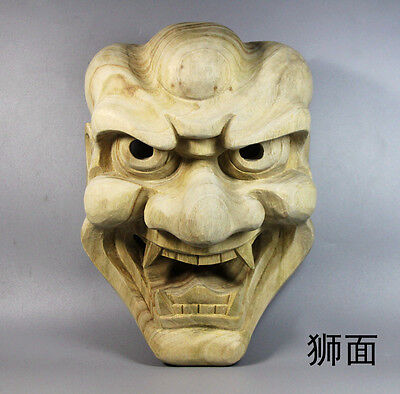 22.5*16.5*9.6 cm Hand Carved Wood Japanese Noh Lion Monster Mask - QH034