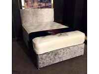 BRAND NEW HALF PRICE LUXURY CRUSHED VELVET BEDS MATTRESS INCLUDED CAN DELIVER TODAY