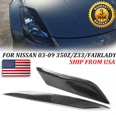 FOR NISSAN 03-09 350Z/Z33/FAIRLADY CARBON FIBER HEADLIGHT EYE LID EYELIDS COVER Carbon Headlight Covers