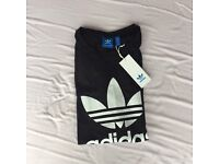 Black Adidas Trefoil T-Shirt - Size UK 8 - Brand New With Tags
