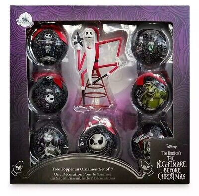Disney Nightmare Before Christmas JACK SKELLINGTON Tree Topper and 7 Ornaments