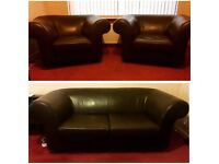 Dark brown leather sofa/couch 3 piece suite 2 chairs