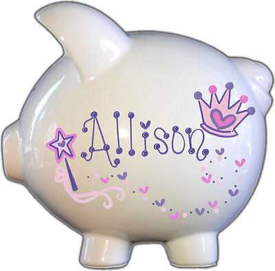 Hand-Painted Personalized Large Ceramic Princess Design Piggy Bank