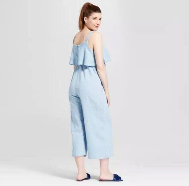 Isabel Maternity Denim Jumpsuit Size S Light Wash Blue