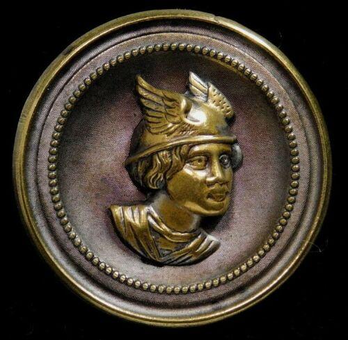 Antique Vtg BUTTON Large Brass Mythology ~ MERCURY aka HERMES