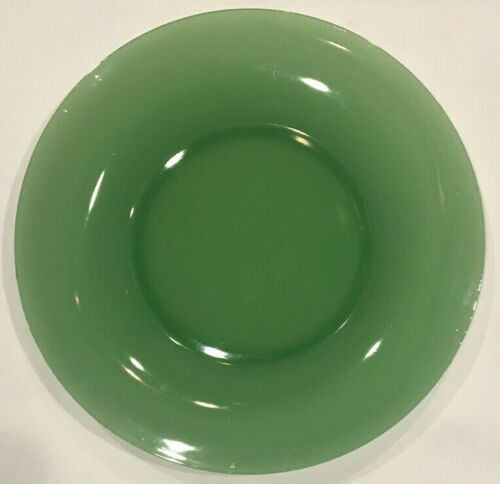 Antique Green Early Art Glass Dinner Plate Polished Base Simple Old Decorative