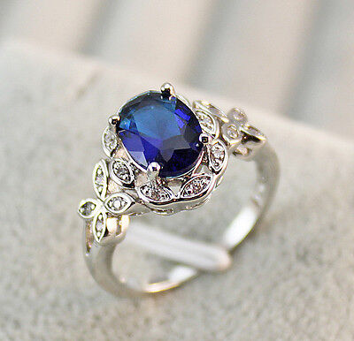 Blue Topaz Butterfly Ring - 18K White Gold Filled - Navy Blue Topaz Butterfly Hollow Prom Ring SZ 6/7/8/9/10