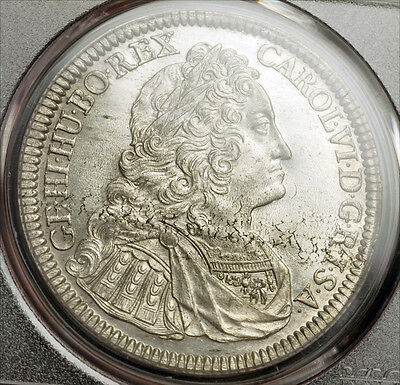 Click now to see the BUY IT NOW Price! 1737 EMPEROR CHARLES VI. LARGE SILVER THALER COIN. HALL MINT GEM PCGS MS 62