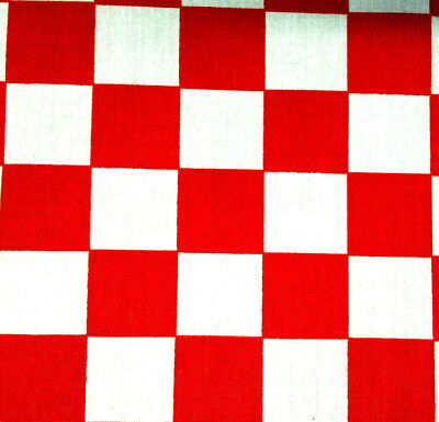 Red and White Checkered POLY COTTON FABRIC 60