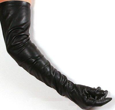 Black Lambskin Leather Opera Length Gloves - 23 inches long Black Lambskin Leather Gloves