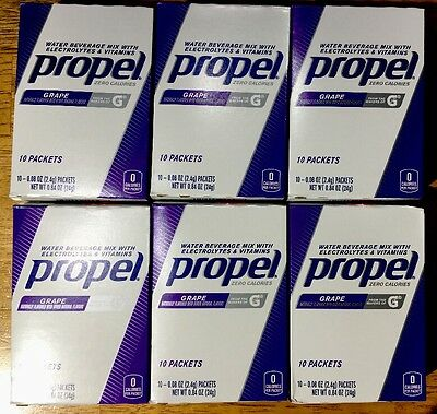 Propel Water Beverage Mix Packets GRAPE 6 BOXES 60 Packets TOTAL EXP.2018 NEW