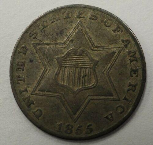 1855 Three Cent Silver 3c #52