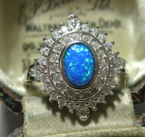 Vintage Style Art Deco Sterling SILVER Gilson Blue Fire Opal Topaz RING Q 1/2