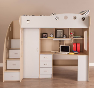 NIKA Loft Bed (Light Grey & Maple - RETAILS FOR $799!!)